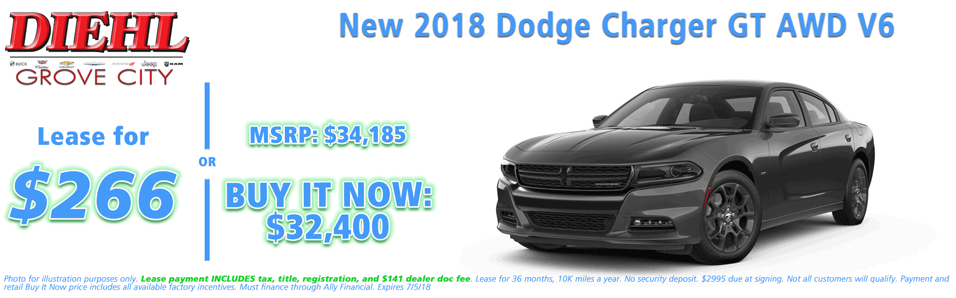 NEW 2018 DODGE CHARGER GT AWD Diehl of Grove City, Pennsylvania. Chrysler Jeep Dodge Ram Chevrolet Buick Cadillac dealership
