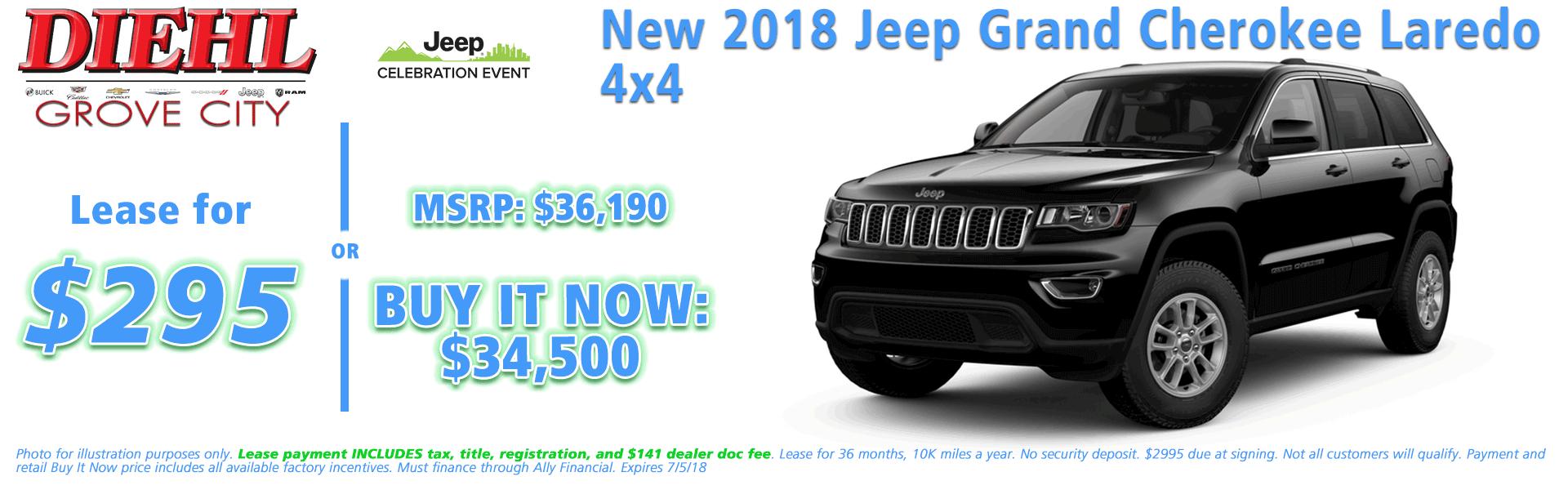 NEW 2018 JEEP GRAND CHEROKEE LAREDO E 4X4 Diehl of Grove City, Pennsylvania. Chrysler Jeep Dodge Ram Chevrolet Buick Cadillac dealership