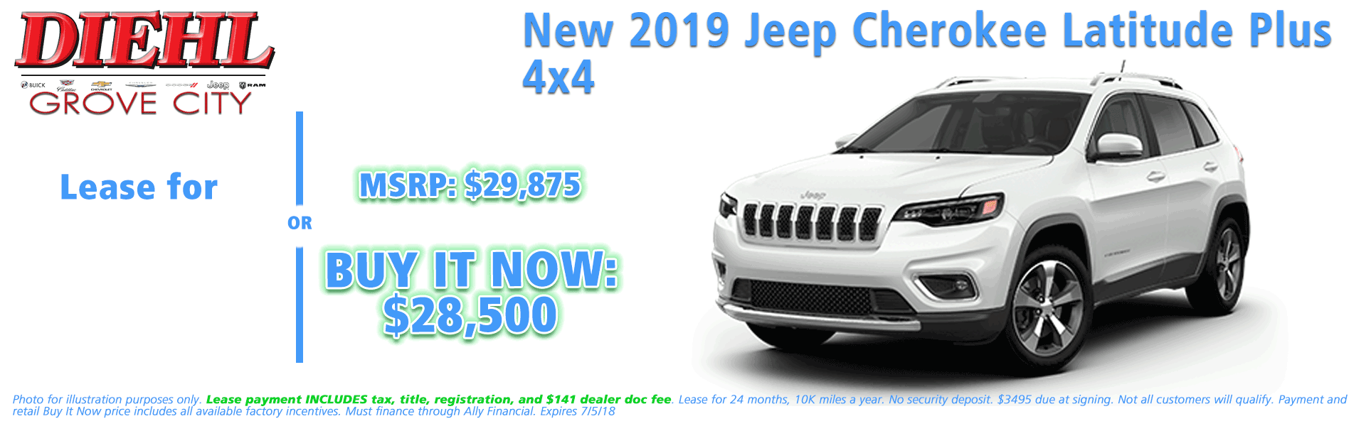 NEW 2019 JEEP CHEROKEE LATITUDE PLUS 4X4 Diehl of Grove City, Pennsylvania. Chrysler Jeep Dodge Ram Chevrolet Buick Cadillac dealership