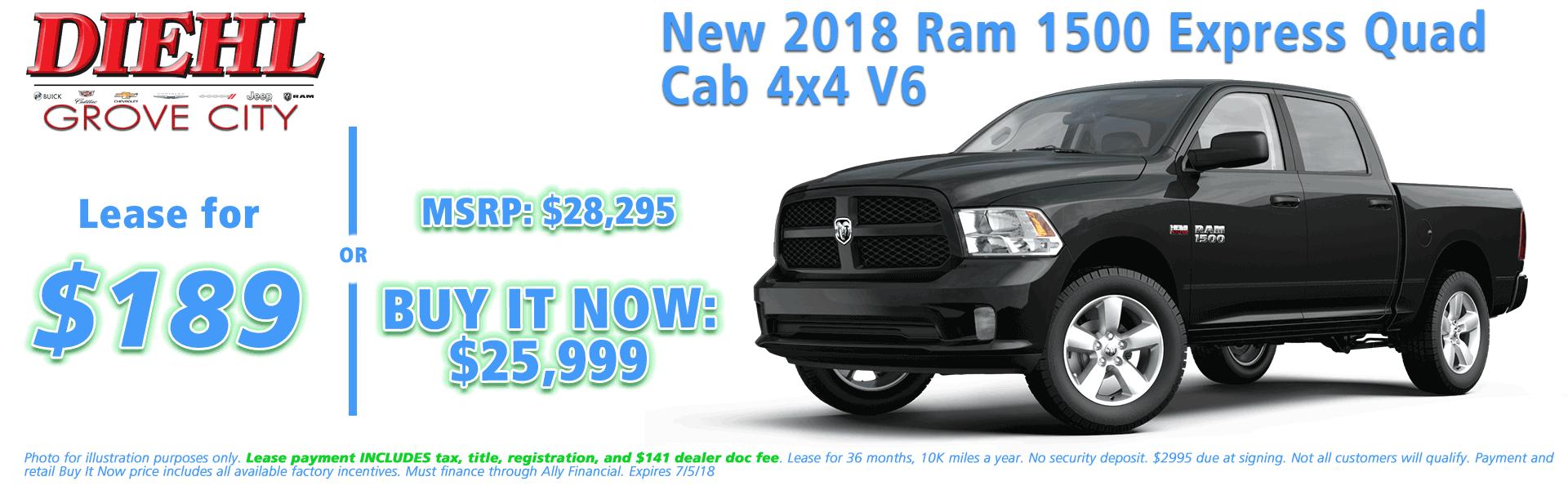 NEW 2018 RAM 1500 EXPRESS QUAD CAB 4X4 6'4