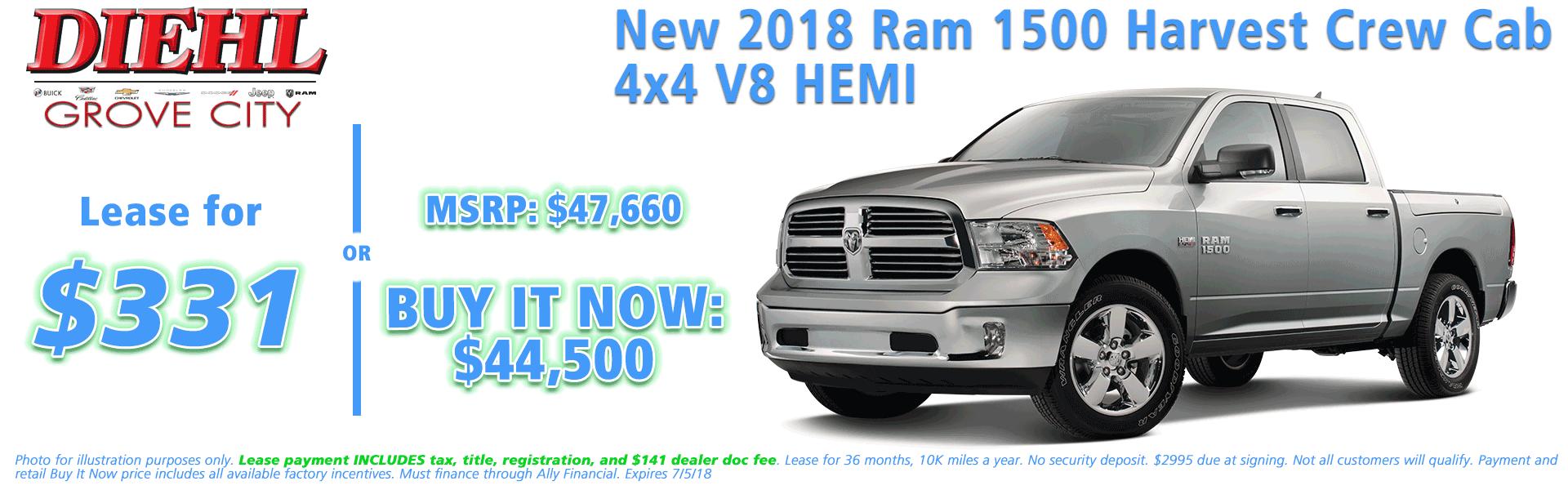NEW 2018 RAM 1500 HARVEST CREW CAB 4X4 5'7