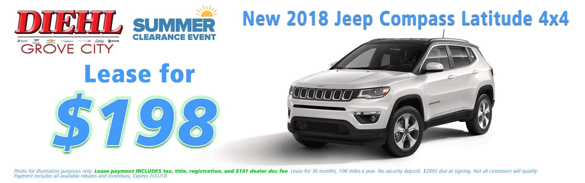 Diehl of Grove City, Grove City, PA 16127 Chrysler Jeep Dodge Ram Chevrolet Buick Cadillac NEW 2018 JEEP COMPASS LATITUDE 4X4
