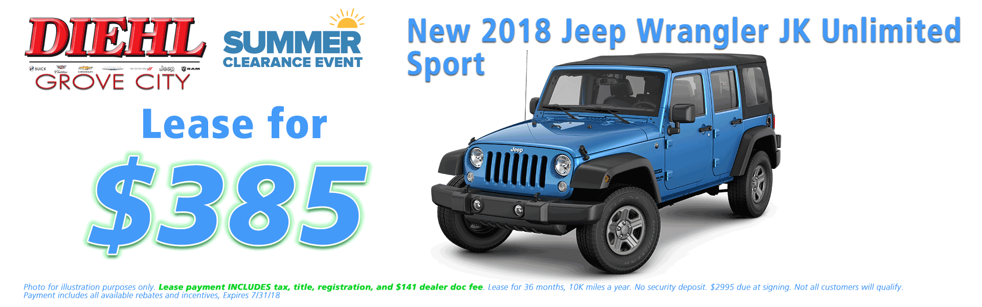 Diehl of Grove City, Grove City, PA 16127 Chrysler Jeep Dodge Ram Chevrolet Buick Cadillac NEW 2018 JEEP WRANGLER UNLIMITED SPORT S 4X4
