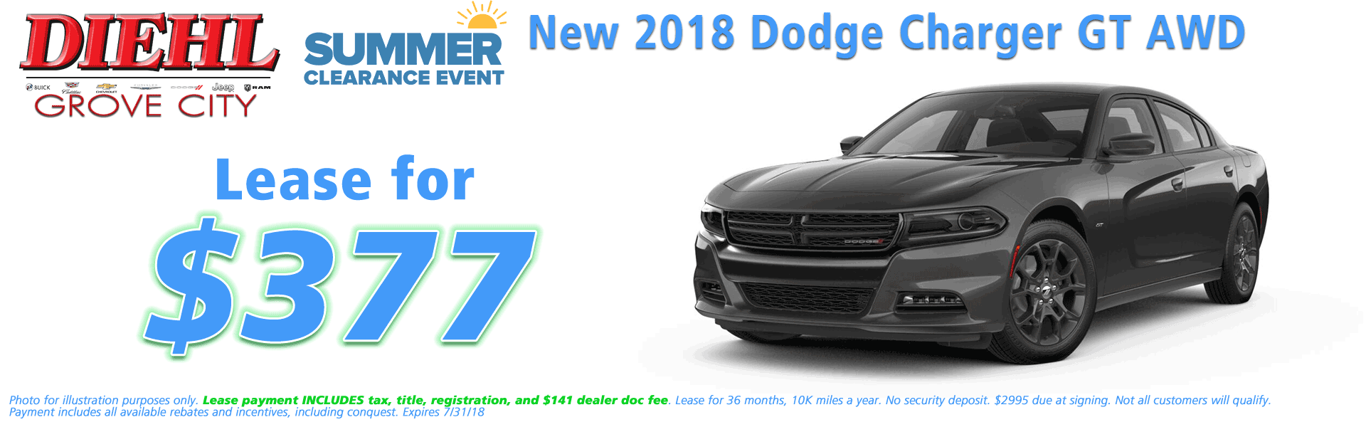 Diehl of Grove City, Grove City, PA 16127 Chrysler Jeep Dodge Ram Chevrolet Buick Cadillac NEW 2018 DODGE CHARGER GT PLUS AWD