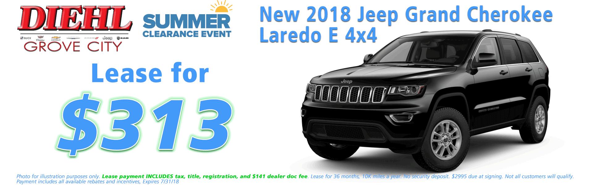 Diehl of Grove City, Grove City, PA 16127 Chrysler Jeep Dodge Ram Chevrolet Buick Cadillac NEW 2018 JEEP GRAND CHEROKEE LAREDO E 4X4