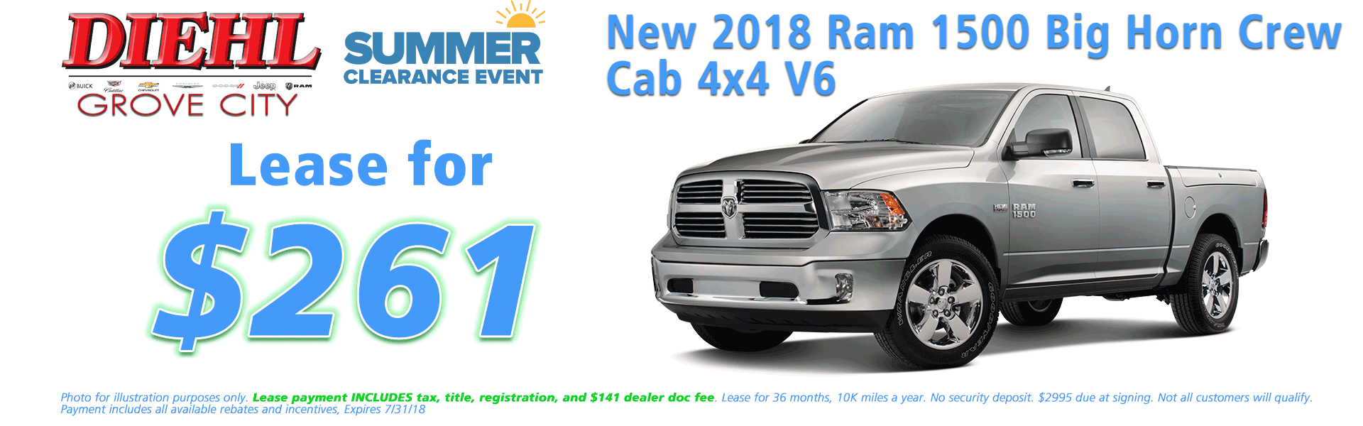 Diehl of Grove City, Grove City, PA 16127 Chrysler Jeep Dodge Ram Chevrolet Buick Cadillac NEW 2018 RAM 1500 BIG HORN CREW CAB 4X4 5'7