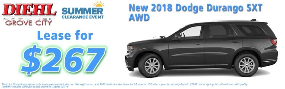 Diehl of Grove City, Grove City, PA 16127 Chrysler Jeep Dodge Ram Chevrolet Buick Cadillac NEW 2018 DODGE DURANGO SXT PLUS AWD