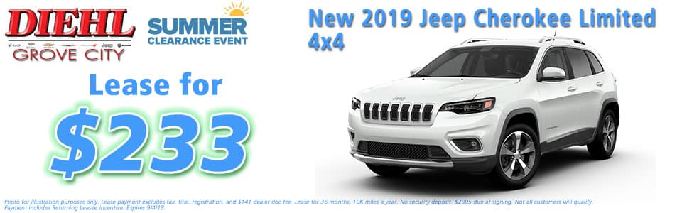 Diehl of Grove City, Grove City, PA 16127 Chrysler Jeep Dodge Ram Chevrolet Buick Cadillac NEW 2019 JEEP CHEROKEE LIMITED 4X4