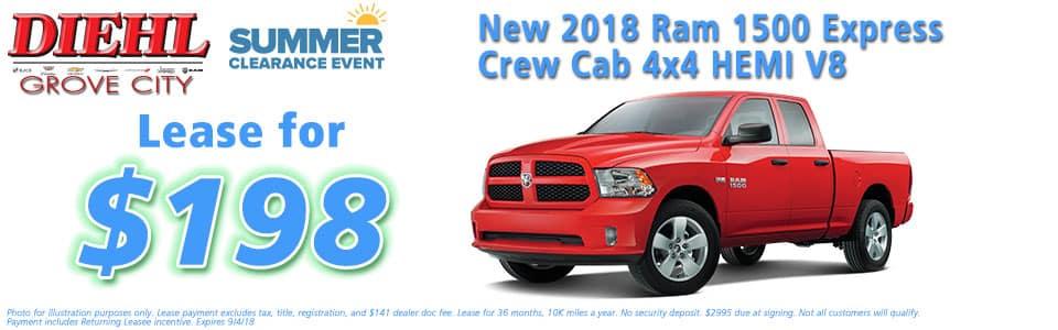 "Diehl of Grove City, Grove City, PA 16127 Chrysler Jeep Dodge Ram Chevrolet Buick Cadillac NEW 2018 RAM 1500 EXPRESS CREW CAB 4X4 5'7"" BOX"