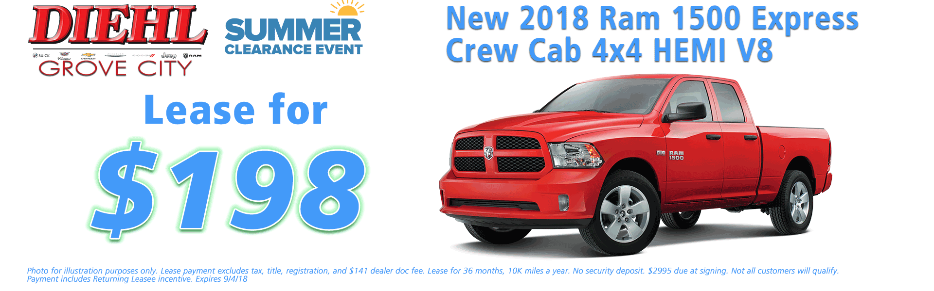 Diehl of Grove City, Grove City, PA 16127 Chrysler Jeep Dodge Ram Chevrolet Buick Cadillac NEW 2018 RAM 1500 EXPRESS CREW CAB 4X4 5'7