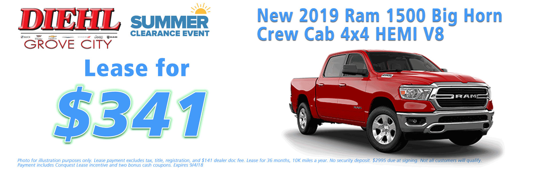 Diehl of Grove City, Grove City, PA 16127 Chrysler Jeep Dodge Ram Chevrolet Buick Cadillac NEW 2019 RAM 1500 BIG HORN / LONE STAR CREW CAB 4X4 5'7