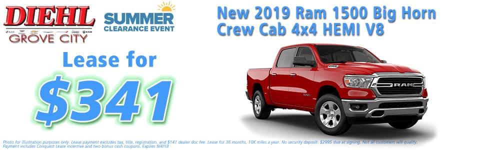 "Diehl of Grove City, Grove City, PA 16127 Chrysler Jeep Dodge Ram Chevrolet Buick Cadillac NEW 2019 RAM 1500 BIG HORN / LONE STAR CREW CAB 4X4 5'7"" BOX"