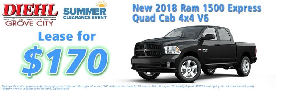"Diehl of Grove City, Grove City, PA 16127 Chrysler Jeep Dodge Ram Chevrolet Buick Cadillac NEW 2018 RAM 1500 EXPRESS QUAD CAB 4X4 6'4"" BOX"