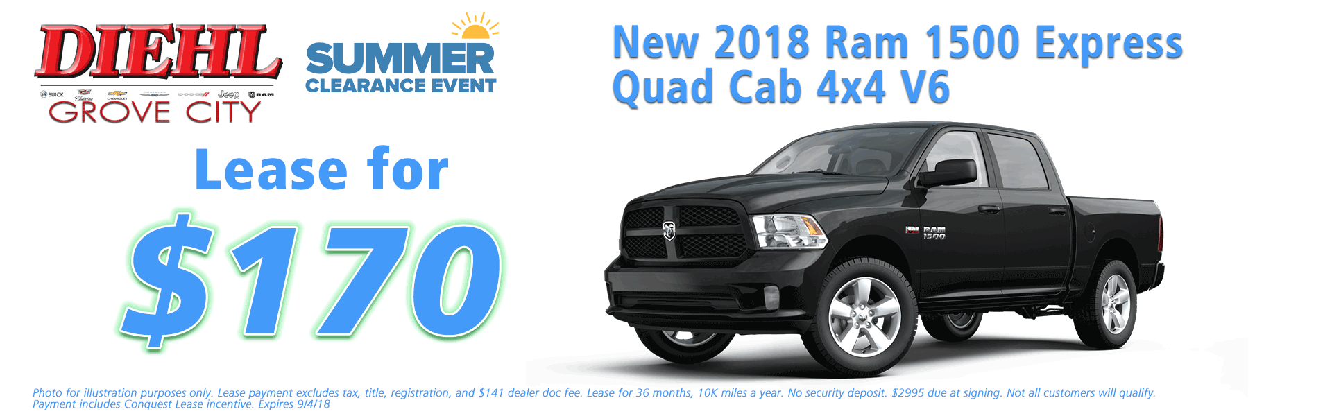 Diehl of Grove City, Grove City, PA 16127 Chrysler Jeep Dodge Ram Chevrolet Buick Cadillac NEW 2018 RAM 1500 EXPRESS QUAD CAB 4X4 6'4