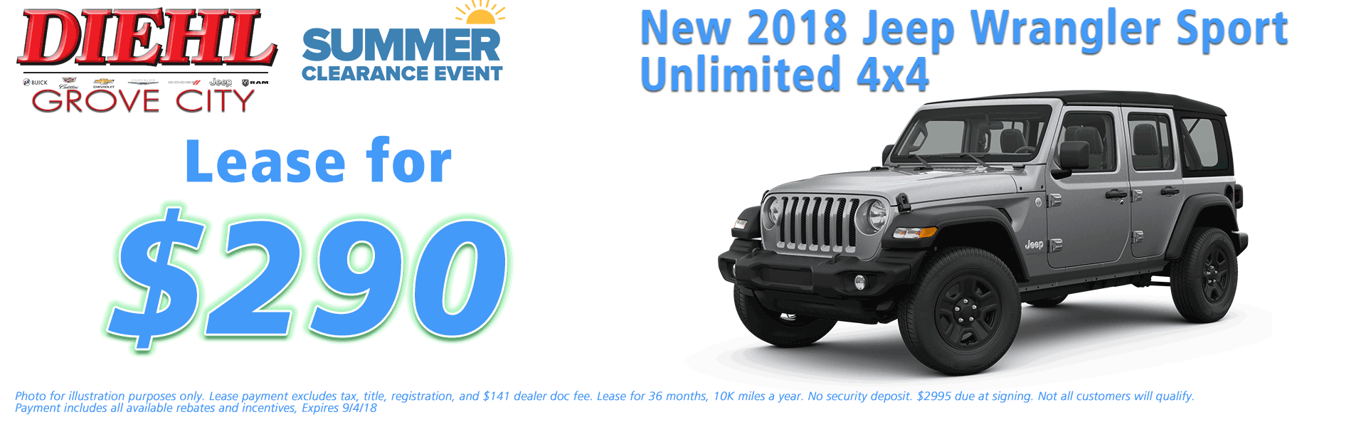 Diehl of Grove City, Grove City, PA 16127 Chrysler Jeep Dodge Ram Chevrolet Buick Cadillac NEW 2018 JEEP WRANGLER UNLIMITED SPORT 4X4