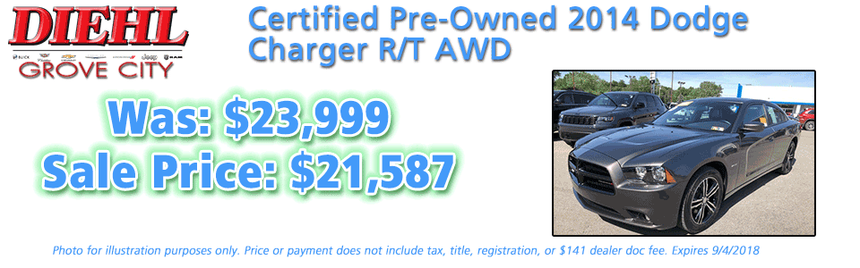 r489a 2014 dodge charger rt awd Diehl of Grove City, Grove City, PA 16127 Chrysler Jeep Dodge Ram Chevrolet Buick Cadillac Pre-owned used CERTIFIED
