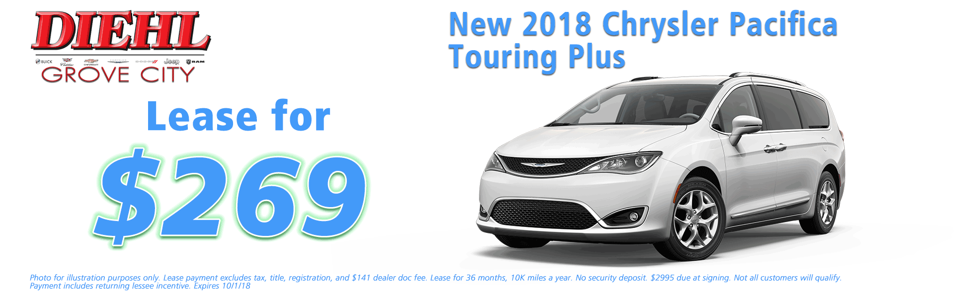 Diehl of Grove City Chrysler Jeep Dodge Ram Chevrolet Buick Cadillac Grove City, PA sales service parts collision repair NEW 2018 CHRYSLER PACIFICA TOURING PLUS