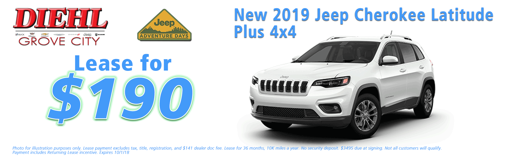 Diehl of Grove City Chrysler Jeep Dodge Ram Chevrolet Buick Cadillac Grove City, PA sales service parts collision repair NEW 2019 JEEP CHEROKEE LATITUDE PLUS 4X4