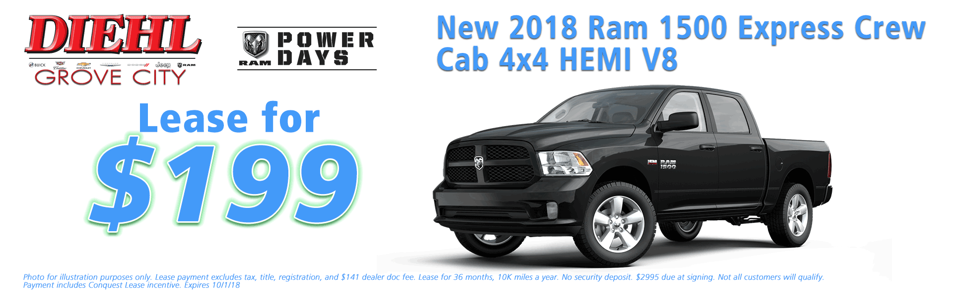 Diehl of Grove City Chrysler Jeep Dodge Ram Chevrolet Buick Cadillac Grove City, PA sales service parts collision repair NEW 2018 RAM 1500 EXPRESS CREW CAB 4X4 5'7