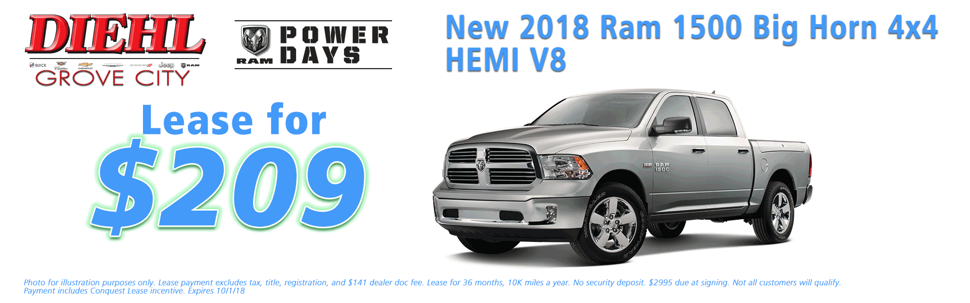 Diehl of Grove City Chrysler Jeep Dodge Ram Chevrolet Buick Cadillac Grove City, PA sales service parts collision repair NEW 2018 RAM 1500 BIG HORN CREW CAB 4X4 5'7