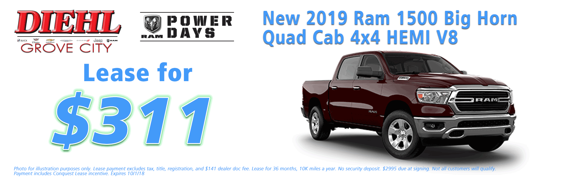 Diehl of Grove City Chrysler Jeep Dodge Ram Chevrolet Buick Cadillac Grove City, PA sales service parts collision repair NEW 2019 RAM 1500 BIG HORN / LONE STAR QUAD CAB 4X4 6'4