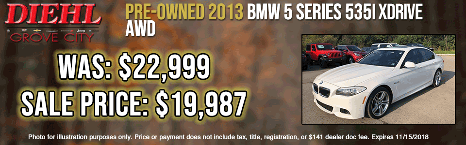 pre-owned vehicle specials G259B-2013-BMW-5-SERIES-X-DRIVE-AWD used vehicle specials pre-owned specials preowned sale used sale diehl of grove city Chrysler dodge jeep ram Chevrolet buick Cadillac