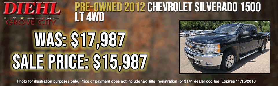 used vehicle specials pre-owned specials preowned sale used sale diehl of grove city Chrysler dodge jeep ram Chevrolet buick Cadillac P9261A PRE-OWNED 2012 CHEVROLET SILVERADO 1500 LT 4WD