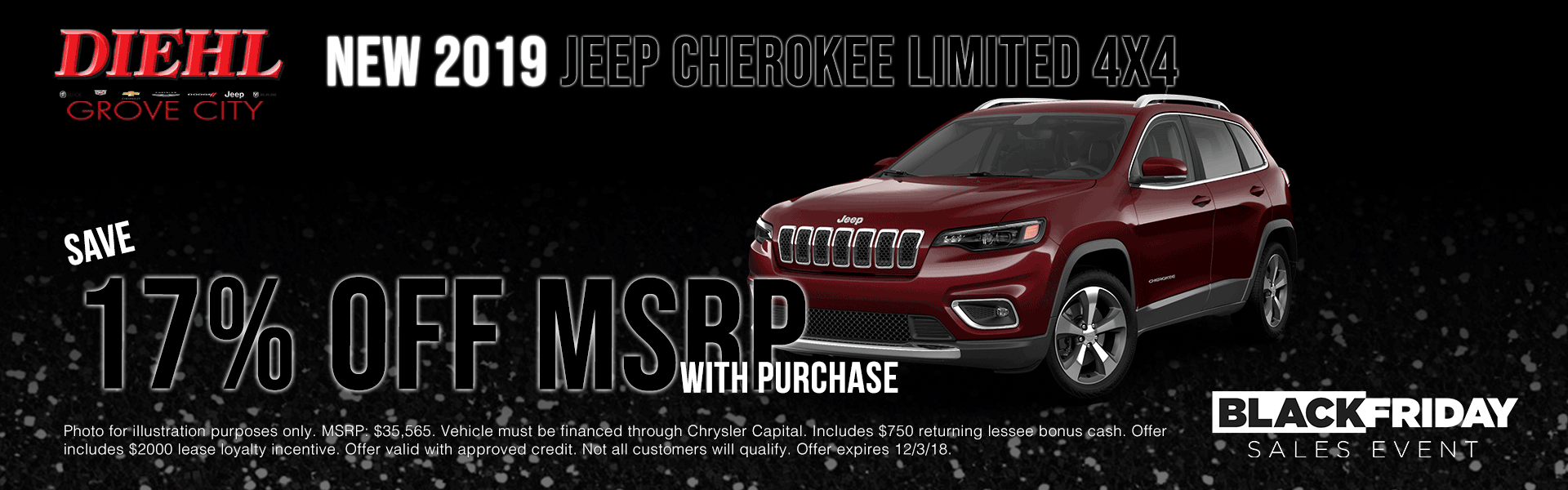 J1092 new 2019 Jeep Cherokee Limited new car special lease special purchase new car special diehl of grove city specials new vehicle specials ram specials jeep specials dodge specials chrysler specials new specials ram city sale