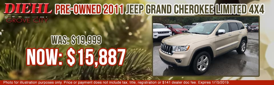 2J1149A 2011 JEEP GRAND CHEROKEE LIMITED 4WD diehl of grove city specials pre-owned vehicle specials pre-owned specials used specials jeep specials