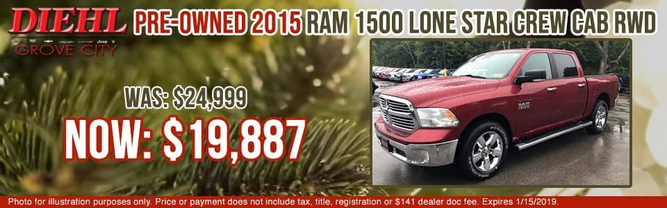 2J1188B 2015 RAM 1500 LONE STAR diehl of grove city specials pre-owned vehicle specials pre-owned specials used specials ram specials