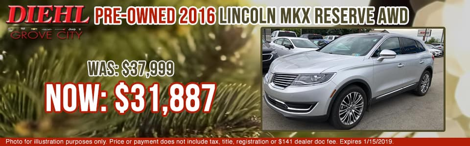 2X001A 2016 LINCOLN MKX RESERVE AWD diehl of grove city specials pre-owned vehicle specials pre-owned specials used specials lincoln specials