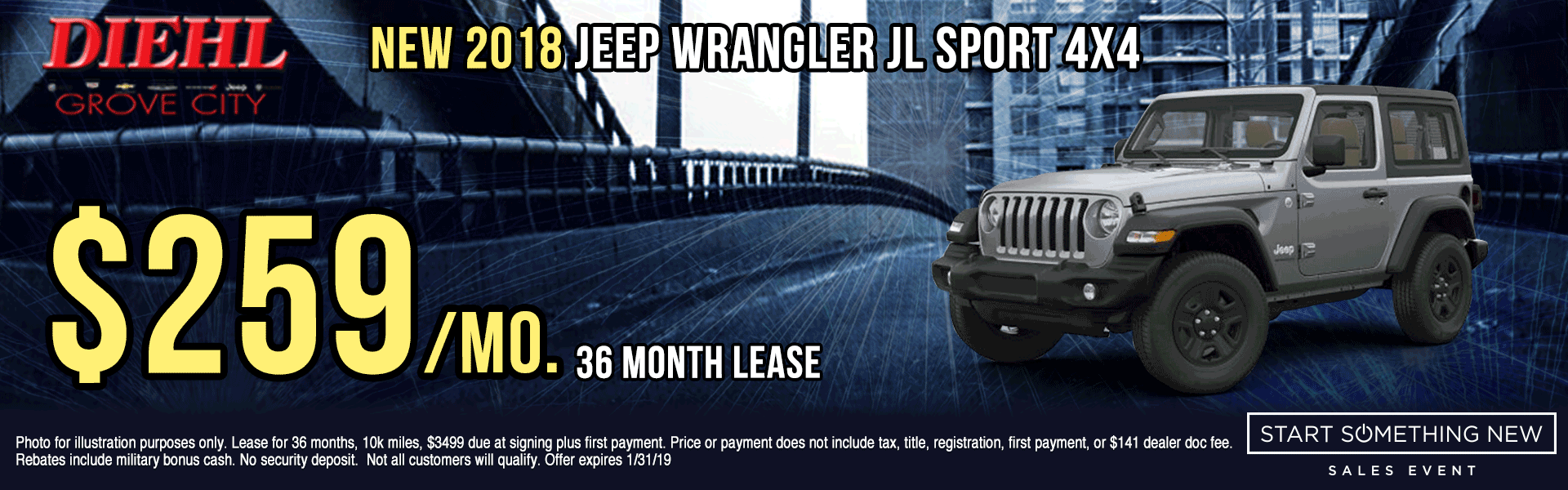 J1324--2018-JEEP-WRANGLER-SPORT-4X4 Start Something New Sales Event Chrysler Specials Dodge Specials Jeep Specials RAM Specials grove city specials Diehl specials Diehl Automotive grove city lease specials
