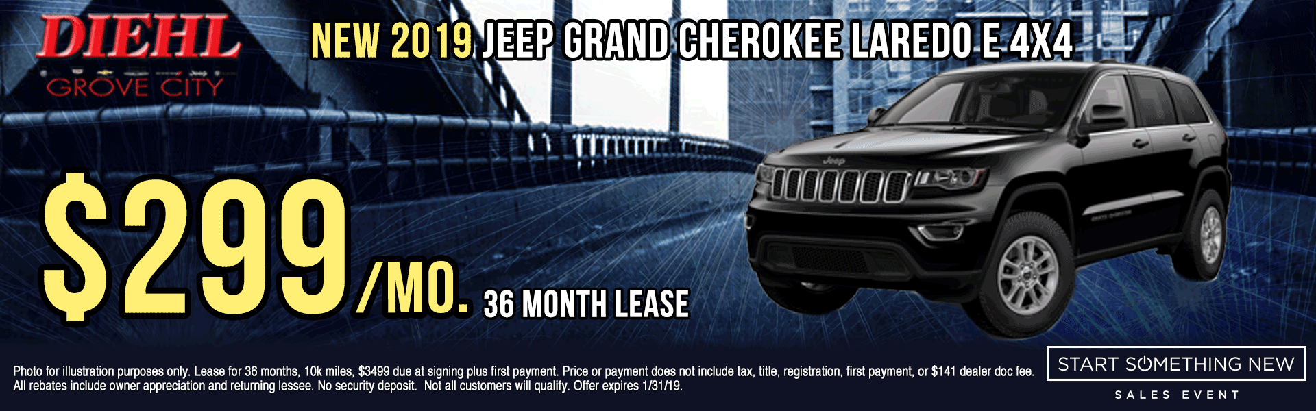 J1363--2019-JEEP-GRAND-CHEROKEE-LAREDO-4X4 Start Something New Sales Event Chrysler Specials Dodge Specials Jeep Specials RAM Specials grove city specials Diehl specials Diehl Automotive grove city lease specials