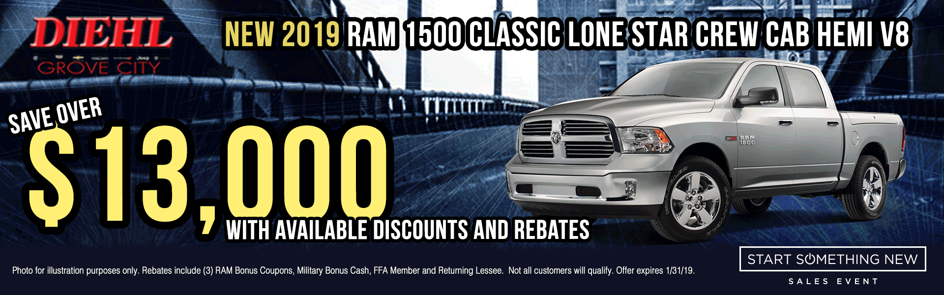 R621-2019-RAM-1500-CLASSIC-LONESTAR-CREW-CAB-HEMI-V8 Start Something New Sales Event Chrysler Specials Dodge Specials Jeep Specials RAM Specials grove city specials Diehl specials Diehl Automotive grove city lease specials