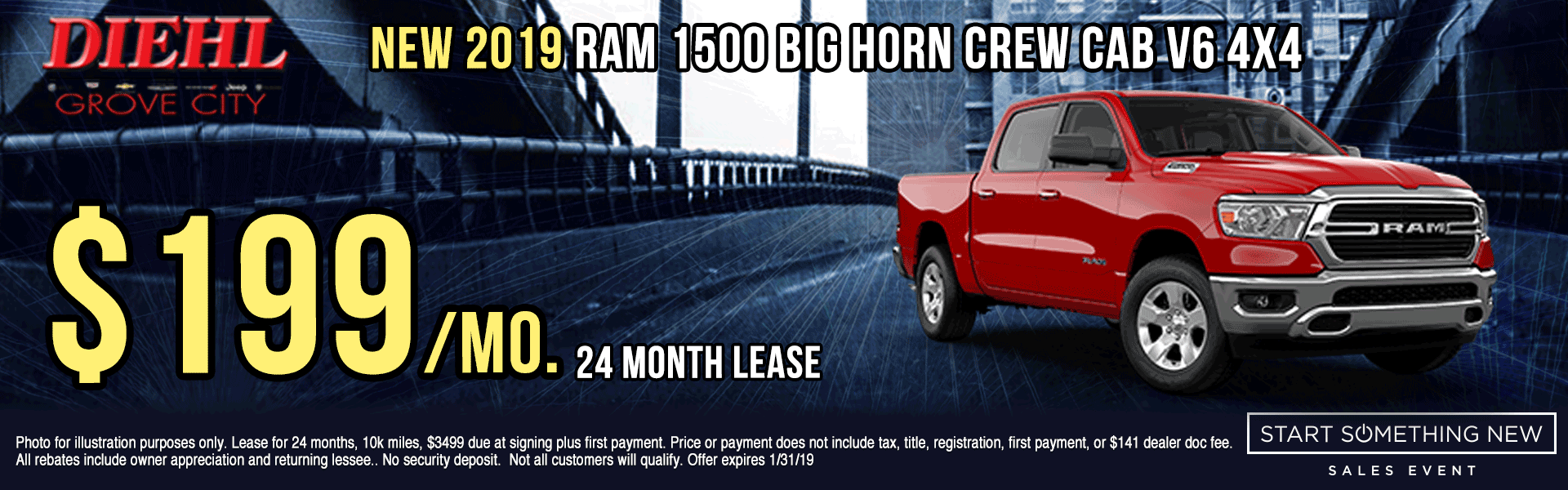 R628-2019-RAM-BIGHORN-CREW-CAB-4X4 Start Something New Sales Event Chrysler Specials Dodge Specials Jeep Specials RAM Specials grove city specials Diehl specials Diehl Automotive grove city lease specials