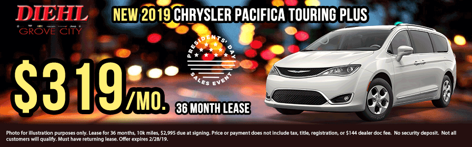 Diehl of Grove City, PA. Chrysler, Dodge, Jeep, Ram, Chevrolet, Buick, Cadillac. New and used vehicle sales, service, parts, accessories, collision center. New vehicle specials. NEW 2019 CHRYSLER PACIFICA TOURING PLUS