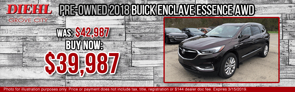 Diehl of Grove City Chevrolet Buick Cadillac Chrysler Jeep Dodge Ram. Service, parts, accessories, new and used sales, body shop. CERTIFIED PRE-OWNED 2018 BUICK ENCLAVE ESSENCE AWD