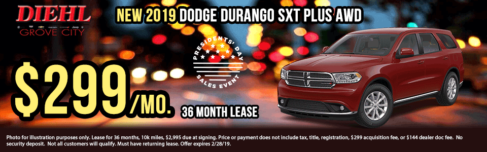 Diehl of Grove City, PA. Chrysler, Dodge, Jeep, Ram, Chevrolet, Buick, Cadillac. New and used vehicle sales, service, parts, accessories, collision center. New vehicle specials. NEW 2019 DODGE DURANGO SXT PLUS AWD