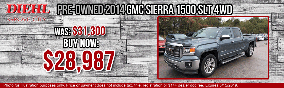 Diehl of Grove City Chevrolet Buick Cadillac Chrysler Jeep Dodge Ram. Service, parts, accessories, new and used sales, body shop. CERTIFIED PRE-OWNED 2014 GMC SIERRA 1500 SLT 4WD