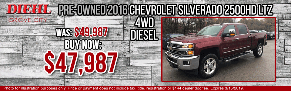 Diehl of Grove City Chevrolet Buick Cadillac Chrysler Jeep Dodge Ram. Service, parts, accessories, new and used sales, body shop. CERTIFIED PRE-OWNED 2016 CHEVROLET SILVERADO 2500HD LTZ 4WD