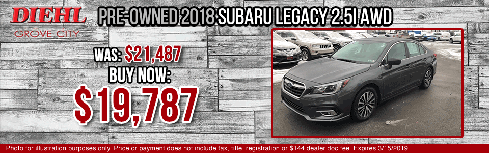 Diehl of Grove City Chevrolet Buick Cadillac Chrysler Jeep Dodge Ram. Service, parts, accessories, new and used sales, body shop. PRE-OWNED 2018 SUBARU LEGACY 2.5I AWD