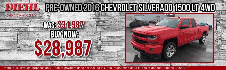 Diehl of Grove City Chevrolet Buick Cadillac Chrysler Jeep Dodge Ram. Service, parts, accessories, new and used sales, body shop. CERTIFIED PRE-OWNED 2016 CHEVROLET SILVERADO 1500 LT 4WD