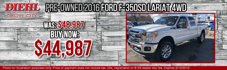 Diehl of Grove City Chevrolet Buick Cadillac Chrysler Jeep Dodge Ram. Service, parts, accessories, new and used sales, body shop. PRE-OWNED 2016 FORD F-350SD LARIAT 4WD