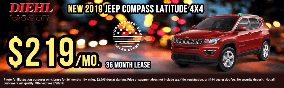 Diehl of Grove City, PA. Chrysler, Dodge, Jeep, Ram, Chevrolet, Buick, Cadillac. New and used vehicle sales, service, parts, accessories, collision center. New vehicle specials. NEW 2019 JEEP COMPASS LATITUDE 4X4