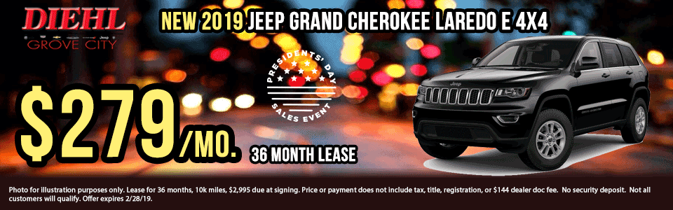 Diehl of Grove City, PA. Chrysler, Dodge, Jeep, Ram, Chevrolet, Buick, Cadillac. New and used vehicle sales, service, parts, accessories, collision center. New vehicle specials. NEW 2019 JEEP GRAND CHEROKEE LAREDO E 4X4
