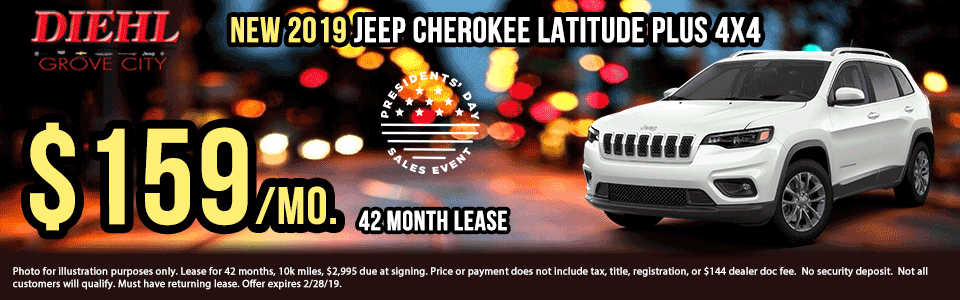 Diehl of Grove City, PA. Chrysler, Dodge, Jeep, Ram, Chevrolet, Buick, Cadillac. New and used vehicle sales, service, parts, accessories, collision center. New vehicle specials. NEW 2019 JEEP CHEROKEE LATITUDE PLUS 4X4