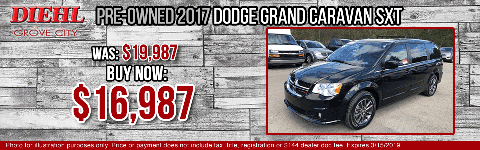 Diehl of Grove City Chevrolet Buick Cadillac Chrysler Jeep Dodge Ram. Service, parts, accessories, new and used sales, body shop. CERTIFIED PRE-OWNED 2017 DODGE GRAND CARAVAN SXT