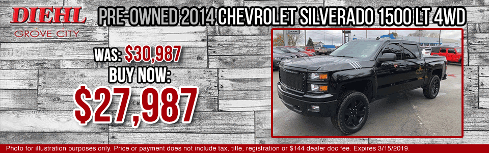 Diehl of Grove City Chevrolet Buick Cadillac Chrysler Jeep Dodge Ram. Service, parts, accessories, new and used sales, body shop. PRE-OWNED 2014 CHEVROLET SILVERADO 1500 LT 4WD