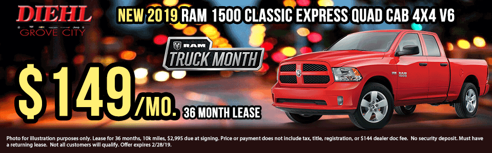 "Diehl of Grove City, PA. Chrysler, Dodge, Jeep, Ram, Chevrolet, Buick, Cadillac. New and used vehicle sales, service, parts, accessories, collision center. New vehicle specials. NEW 2019 RAM 1500 CLASSIC EXPRESS QUAD CAB® 4X4 6'4"" BOX"