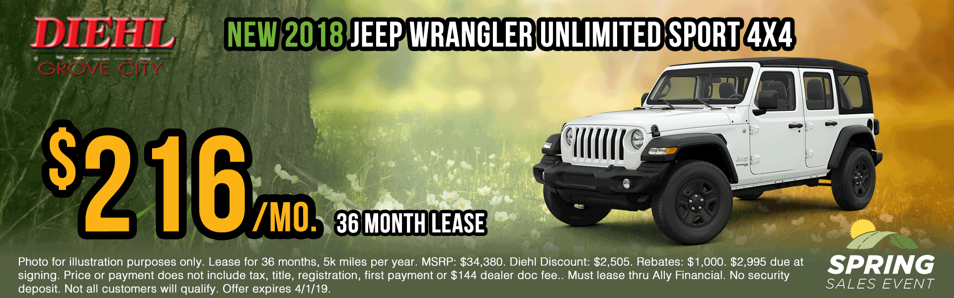 J1200-2018-jeep-wrangler-unlimited-sport Spring sales event jeep specials Chrysler specials ram specials dodge specials mopar specials new vehicle specials Diehl automotive Diehl Robinson Diehl of grove city specials lease specials